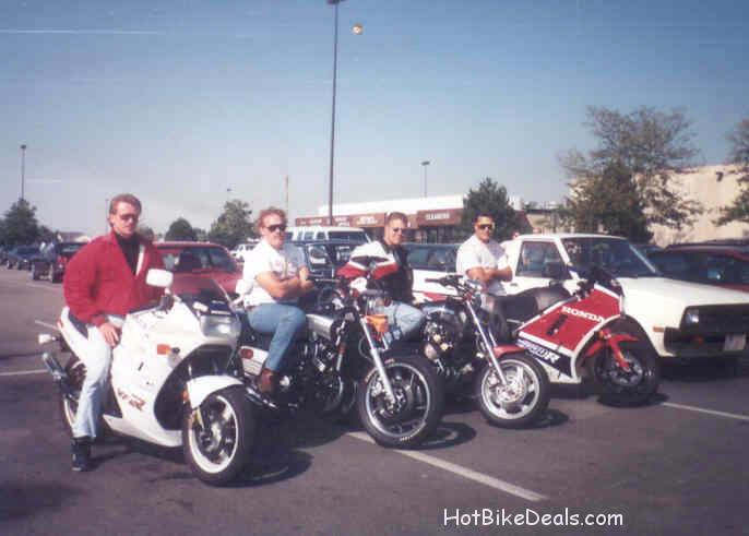 Here are my old motorcycle pics from the 80's and 90's.  I scanned a pic of my old gsxr 1100 and then also my old 1986 Fazer.  Many people called it a mini vmax.