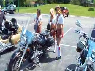 Olympia, Melanie and Dee looking sexy on a cruiser bike from:DotComd